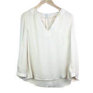 Joie Ivory 100% Silk V-Neck Blouse